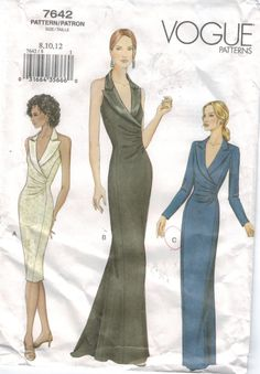 Elegant Photo of Prom Dress Sewing Patterns Prom Dress Sewing Patterns Vogue Pattern 7642 Evening Gowns Halter Short And Long Tuxedo Collar Vintage Vogue Patterns, Vogue Sewing Patterns, Clothing Patterns, Vintage Sewing, Ball Gowns Evening, Evening Dresses, Evening Dress Patterns, Tuxedo Dress, Pattern Fashion