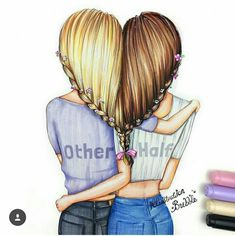 Bff bff drawings, best friend drawings και drawings of friends. Friends Drawing, Best Friend Drawings, Bff Drawings, Cool Drawings, Pretty Easy Drawings, How To Draw Hair, Beautiful Drawings, Best Friends Forever, Friend Pictures