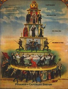 The Pyramid of Capitalist System is a common name of a 1911 American cartoon caricature critical of capitalism, closely based on a Russian flyer of c. The graphic focus is on social stratification by social class and economic Social Class, Social Change, Social Issues, Karl Marx, Illuminati, Terre Plate, Tiers Monde, Socialism, Social Stories