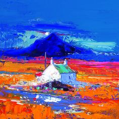 Ben Talla Isle of Mull by John Lowrie Morrison Landscape Art, Landscape Paintings, Landscapes, Bright Colors Art, 4th Grade Art, Acrylic Painting For Beginners, Cottage Art, Sketch Painting, Naive Art