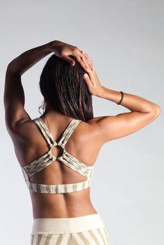 Cream/Gold Carni Stripe Dance Bra | Phoenix Rising Designs