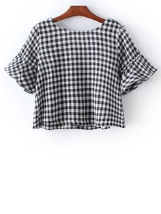 Checked Flare Sleeve Round Neck T-Shirt