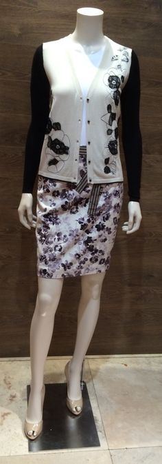 """Max Mara SS 2014 Collection: Weekend collection cotton/silk blend monochrome cardigan with lace detail   Sportmax code basic white cotton short-sleeve blouse   Weekend floral print monochrome cotton denim skirt   Max Mara """"Filly"""" patent leather peep toe heels.  Prices on request."""