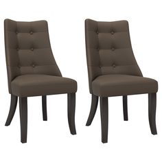 CorLiving Antonio Button Tufted Dining Accent Chairs (Set of (Brown) (Rubberwood) Tufted Dining Chairs, Solid Wood Dining Chairs, Dining Chair Set, Accent Chair Set, Living Room Furniture Arrangement, Parsons Chairs, Chair Upholstery, Chair Fabric, Tufting Buttons
