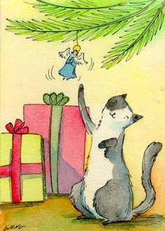 "Nicoe Wong ACEO Original Painting ""Angel play"" CAT pet CHRISTMAS ornament tree gifts | eBay"