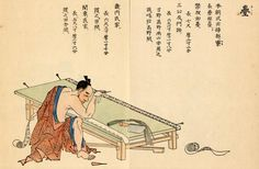 Tatami: He is sawing the border of a tatami mat.