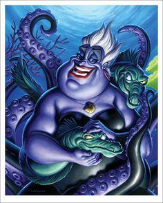 "Ursula by Jason Edmiston-Artists Re-Imagine Disney Films in ""Nothing's Impossible"" - My Modern Met Disney Pixar, Kida Disney, Walt Disney, Disney E Dreamworks, Animation Disney, Disney Villains, Disney Magic, Disney Art, Ursula Disney"