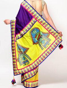 Colour-Block Saree yellowpurpleSTYLEPKSR10
