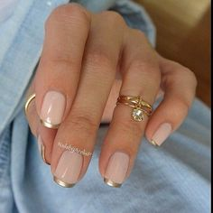 Nude & Gold Tip Nails, french mancicure with silver tips, manicura francesa con puntas plateadas, unhas decoradas