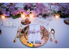 Arabic Wedding Orchids and pink ribbon on napkins Pink & Gold Wedding