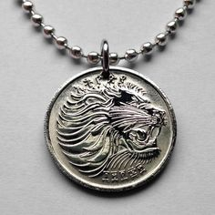 Ethiopia 25 cents coin pendant Lion of Judah necklace Rasta Jewish tribe n001167 #coinedJewelry #Pendant