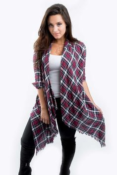 A play on the classic plaid button-down, the Madison open drape cardigan adds pattern and texture to your outfit! With a burgundy plaid finish, 3/4 length sleeve with button cuffs, and an unfinished h