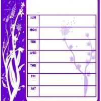 Violet Floral Stamped 2013 Weekly Planner -Girls, plan your weekly activities using this floral themed violet colored weekly planner. Hurry and print now!