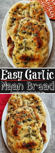 "This ""Easy Garlic Naan Bread Recipe"" will have you eating the best Indian food at home in no time.  #Canadiancookingadventures #Easy #Garlic #Naan #Bread #Recipe #Recipes #Cooking #Indian #Indianrecipes #India #Foodie #Breads #Butter #Fenugreek"