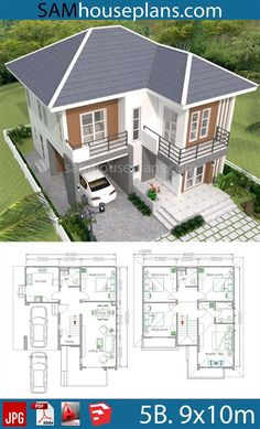 5 Bedroom House Plans, House Plans Mansion, Sims House Plans, Duplex House Plans, House Layout Plans, Dream House Plans, Dream Houses, 2 Storey House Design, Bungalow House Design