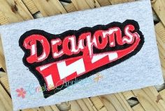 Dragons Double Vintage Stitch Applique - 6 Sizes!   Sport Teams   Machine Embroidery Designs   SWAKembroidery.com Creative Appliques