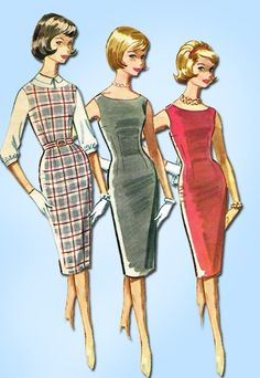 1960s Vintage McCalls Sewing Pattern 5901 Sexy Mid Mod Wiggle Dress Size 12T 32B