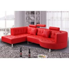 Orian Red Leather Sectional Sofa