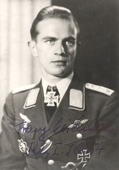 ✠ Franz Eisenach (11 August 1918 – 21 August 1998) . Awarded Knight's Cross of the Iron Cross . 129 victories in 319 missions .