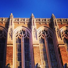 The sun sets on Suzzallo Library.