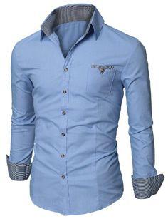 Mens Casual Plaid Patched Pocket Slim Dress Shirt