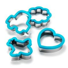 """Lunch shapes up with these sandwich cutters!Bigger and deeper than most cookie cutters. Easily cut through most sandwich combos.FEATURES• Set of four cutters that can be used as sandwich or large cookie cutters• Blue silicone trim at top with stainless steel cutter• Each set includes one heart, one plane, one car, and one flower shape•Approximately 4"""" x 4""""MATERIALS•Stainless steel and siliconeCARE• Dishwasher safeMade in China"""