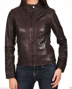 Women'S Ladies 100% Genuine Soft Lambskin Leather Motor Biker Jacket Size Xs-3Xl