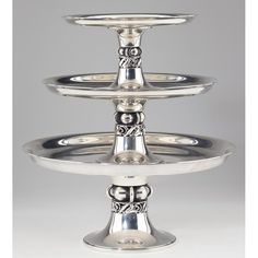 La Paglia Sterling Three Tiered Tazza Serviceeach tazza of graduated size with central well for nesting foot, pattern. on Jun 2012 Silver Highlights, Needful Things, Antique Silver, Objects, Auction, Antiques, Jun, Medieval, Silver