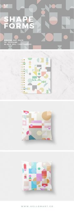 Shapeforms is a set of ten+ tiling, modern and geometric patterns. The designs come in neutral, soft pastel and bright color palettes. Great for use on invitations, stationery, cards, fabric, art prints,  postcards, gift wrap, wallpaper, notebook and book covers etc.
