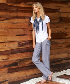 Good outfit idea for my new linen pants  Check out the website for more