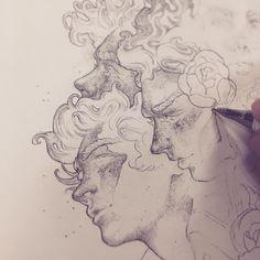 sketch art drawing painting collage sketches aesthetic work ethereal g e o r g i a n a : a r t Drawing Sketches, Art Drawings, Drawing Faces, Sketch 2, Arte Sketchbook, Creation Art, Pretty Art, Love Art, Art Inspo