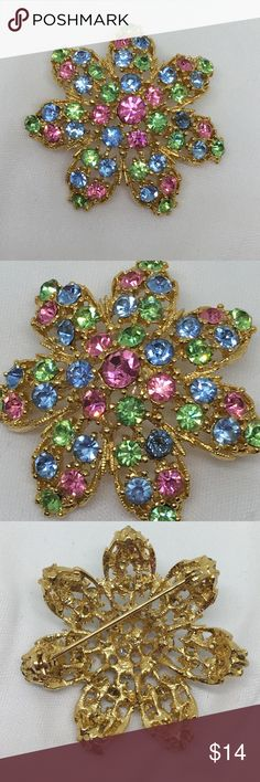 "🆕Vintage Pastel Rhinestone Flower Pin A 2"" in diameter gold flower pin with pastel pink, blue and green prong-set rhinestones. In excellent vintage condition, only one rhinestone appears to be slightly out of place, but overall this piece is well-preserved for its age! It reminds me that Spring is around the corner! Vintage Jewelry Brooches"