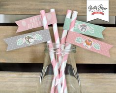 Girl Woodland Straw Flags // INSTANT DOWNLOAD // Mint and Pink