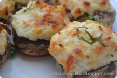 "Crab Stuffed Mushrooms ~ These little mushrooms are decadent and rich and you only ""need"" a couple, but will want lots more. They are super delicious!"
