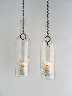 Wine Bottle Candle Holder Hanging Hurricane Lanterns door BoMoLuTra, $36.00