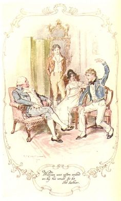 William was often called on by his uncle to be the talker, Mansfield Park watercolor Illustrations by C. E. Brock.