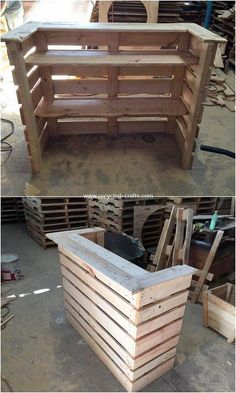 Latest furnishing items from old shipping pallets - Paletten Ideen - Design Rattan Furniture Diy Pallet Furniture, Diy Pallet Projects, Bar Furniture, Rustic Furniture, Garden Furniture, Outdoor Furniture, Pallet Counter, Wood Pallet Bar, Wood Wood