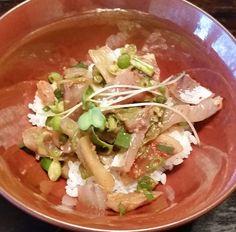 #nomnom #happy #homemade #aji #tataki rice bowl with  Jack Mackerel green onion kimchi and kaiware-daikon. #yum #homeCooking #dinner #foodpic #comfortfood #foodstagram #instayum #Japanese #foodie by arteamore