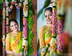 Traditional South Indian bride wearing bridal saree, jewellery and hairstyle. Indian Bridal Fashion, Indian Bridal Makeup, Bridal Looks, Bridal Style, Saree Wedding, Telugu Wedding, Wedding Bride, Wedding Blouses, Bridal Sarees