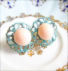 Coral and Mint Earrings Stud Post Mint Green Apricot Stud Earrings Patina Earrings Aqua Turquoise Blue Mint Pink