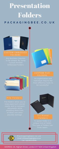 An organization and individual require the most effective tools to be successful. Efficiency and ease can come from using Custom File Folders. You can design these Custom Printed File Folders according to your needs through Packaging Bee. #PresentationFolders #CustomLogoBoxes  #CustomPackaging #CustomPresentationFolders #CustomPackagingServices  #WholesaleCustomPresentationFolders  #WholesalePresentationFolders  #CustomPrinting Packaging Services, Custom Packaging, Custom Presentation Folders, Package Bees, File Folders, Can Design, Embossing Folder, Custom Logos, Success