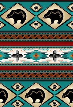 ES-Tucson 516 Turquoise Bear Stripe Fabric by the Yard Native American Decor, Native American Print, Native American Patterns, Native American Symbols, American Indian Tattoos, American Indian Art, American Indians, Motif Navajo, Navajo Rugs