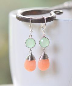 Peach Jade and Mint Bridemaid Earrings in Silver. by RusticGem, $29.50