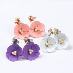 Find More Stud Earrings Information about New Summer Jewelry Rhinestone Faux Pearl Camellia Flower Front & Back Ear Studs Earbobs Women's Earrings,High Quality Stud Earrings from hu hu's store on Aliexpress.com
