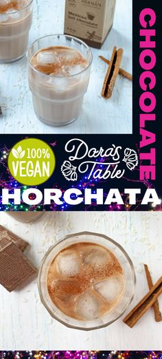 This Mexican chocolate horchata is the perfect drink to cool down this summer. The traditional combination of soaked rice and milk is give an upgrade with this artisanal Mexican chocolate tablillas from Hernan.  #mexicangonevegan #vegan #mexicanchocolate #horchata #dairyfree #summertimedrink #cooldowndrink #naturalenergydrink # Hot Tea Recipes, Coffee Recipes, Horchata, Vegan Mexican Recipes, Delicious Vegan Recipes, Natural Energy Drinks, Vegan Shakes, Peach Lemonade, Summertime Drinks