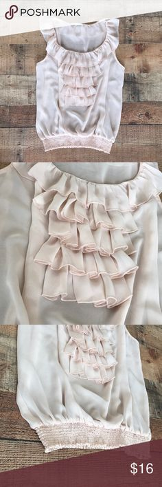 Shear blush blouse Light and flowy Lightly worn  No stains or snags  Very soft pink/cream color  Elastic bottom band Very pretty Top! Forever 21 Tops Blouses