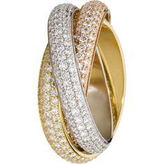 Cartier Trinity ring, classic model 3-gold, diamonds N4210700