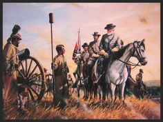 Chance Meeting  General Lee encounters his youngest son, Pvt,. Robert E. Lee Jr on the battlefield of Second Bull Run.
