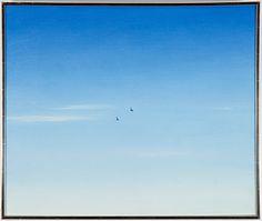 ALF OLSSON, olja på duk, signerad.  Landskap med fåglar.