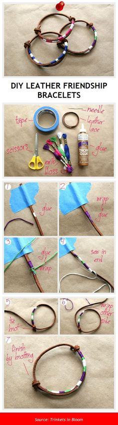 DIY LEATHER FRIENDSHIP BRACELETS #diy #crafts
